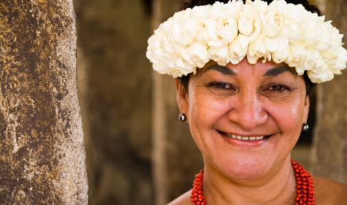 Portrait of a woman smiling, Papeete, Tahiti, French Polynesia